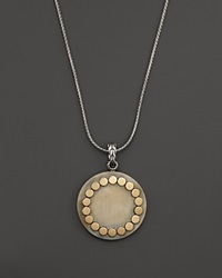 John Hardy 18K Gold And Sterling Silver Dot Large Round Locket Pendant Necklace With Buffalo Horn 36