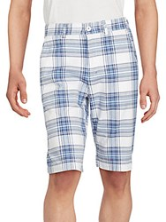 Buffalo David Bitton Heylie Checkered Flat Front Shorts White Plaid