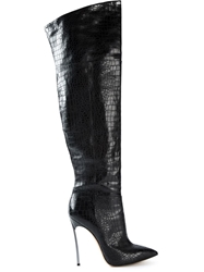 Casadei Over The Knee Length Boots With A Silver Tone Stiletto Heel Black