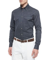 Brunello Cucinelli Flannel Western Sport Shirt Dark Gray