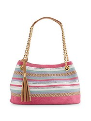 Saks Fifth Avenue Striped Straw Satchel Pink