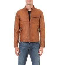 Polo Ralph Lauren Zip Up Leather Jacket Old Amber