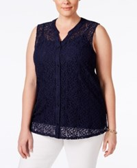 Styleandco. Style And Co. Plus Size Lace Sleeveless Blouse Only At Macy's Industrial Blue