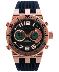 Sean John Men's Analog Digital Black Silicone Strap Watch 60X45mm 10018066