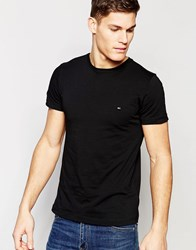 Tommy Hilfiger T Shirt With Flag Logo In Stretch Slim Fit In Black Black