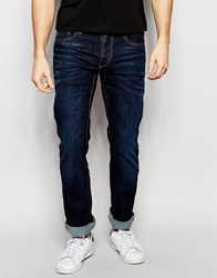 Jack And Jones Jack And Jones Dark Wash Jeans In Straight Fit Blue