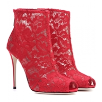 Dolce And Gabbana Lace Open Toe Ankle Boots Rosso