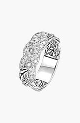 John Hardy 'Classic Chain' Pave Diamond Braided Band Ring Silver