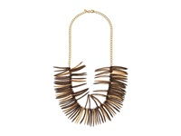 Kenneth Jay Lane Spikes And Gold Chain Necklace Cocoa Wood Necklace