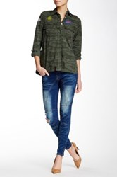 Lee Cooper Janie Mid Rise Moto Jean Blue