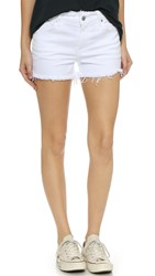 7 For All Mankind Raw Edge Cut Off Shorts White