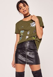 Missguided Patch T Shirt Khaki