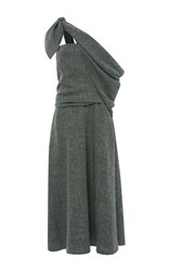 Rosie Assoulin Grey Silk Linen Sling Dress Light Grey