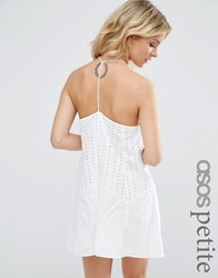 Asos Petite Broderie Sundress With Strappy Back White
