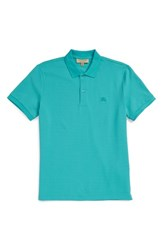 Burberry Men's Brit 'Oxford' Short Sleeve Polo Turquoise Green