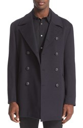 John Varvatos Men's Star Usa Trim Fit Wool And Cashmere Peacoat Navy