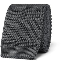 Burberry Knitted Silk Tie Gray