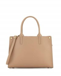Neiman Marcus Smooth Leather Cutout Satchel Bag Taupe
