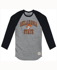 Retro Brand Men's Oklahoma State Cowboys Color Block Long Sleeve T Shirt Black
