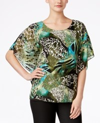 Jm Collection Printed Buttefly Sleeve Top Only At Macy's Olive Sprig