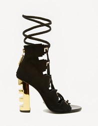 Kat Maconie Betsy Black And Gold Ghillie Multi Lace Heeled Sandals Black And Gold