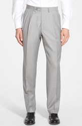 Men's Big And Tall Santorelli 'Luxury Serge' Double Pleated Wool Trousers Light Grey