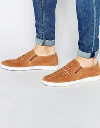 Frank Wright Woven Slip On Plimsolls In Suede Tan