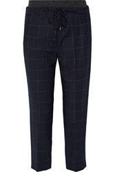 Brunello Cucinelli Cropped Checked Stretch Wool Twill Tapered Pants Midnight Blue