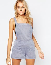 Asos Chambray Dungaree Beach Playsuit Blue
