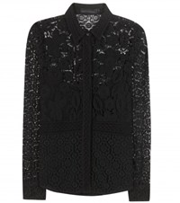 Burberry Lace Cotton Blend Blouse Black