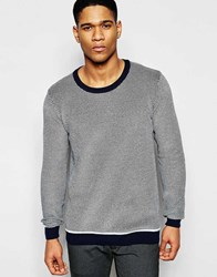 Solid Textured Knitted Sweater With Contrast Hem Navy