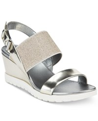 Easy Spirit Hagano Wedge Sandals Women's Shoes Silver