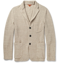 Barena Unstructured Knitted Cotton Blend Blazer Gray