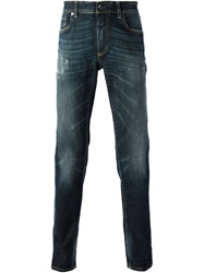 Dolce And Gabbana Rip Detail Jeans Blue