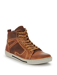 Steve Madden Paneled Leather High Top Sneakers Tan Leather