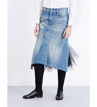 Junya Watanabe Tulle Detail Denim Skirt Indigo X Black