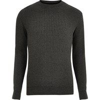 River Island Mens Dark Grey Ribbed Knitted Slim Fit Jumper