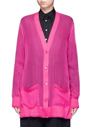 Givenchy Wool And Chiffon Oversized Cardigan Pink