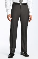 Men's Big And Tall Zanella 'Todd' Flat Front Trousers Dark Grey