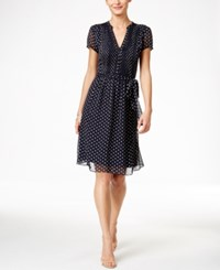 Styleandco. Style And Co. Chiffon A Line Short Sleeve Dress Only At Macy's Navy