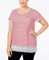 Charter Club Plus Size Striped Crocheted Hem Top Only At Macy's Red Barn Combo