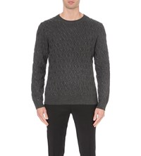 Sandro Cable Knitted Jumper Grey