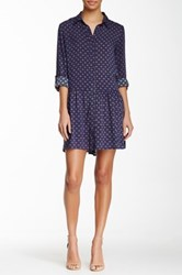 Blvd Long Sleeve Printed Dress Blue