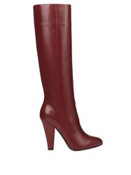 Sonia Rykiel Leather Knee High Boots Burgundy