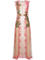 Alberta Ferretti Floral Embroidered Lace Dress Pink Purple