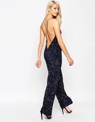 Asos Backless Jumpsuit With All Over Sequins Navy