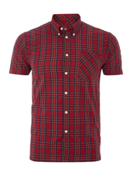 Merc Short Sleeve Tartan Check Shirt Red