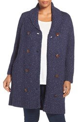 Melissa Mccarthy Seven7 Plus Size Women's Double Breasted Cardigan Evening Blue