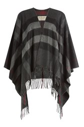 Burberry London Fringed Wool Cashmere Cape Multicolor
