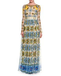 Dolce And Gabbana Long Sleeve Tile Print Silk Gown Yellow Blue Blue Yellow